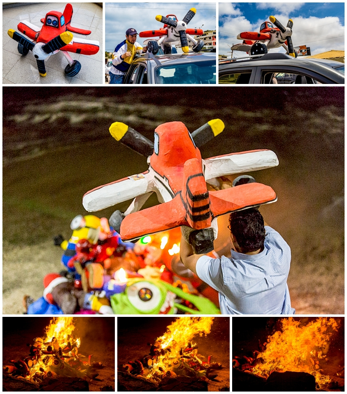 2015 New Year's Eve - Salinas Ecuador - airplane effigy manogote burned
