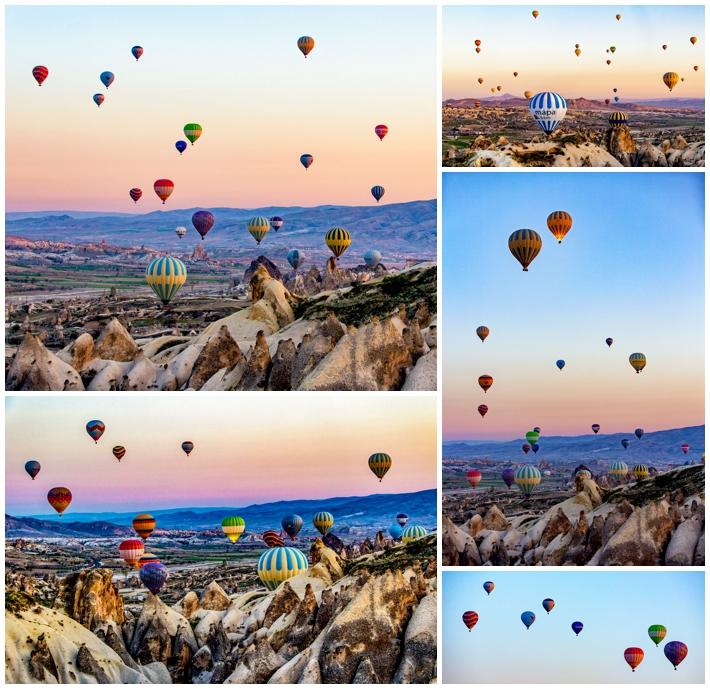 Cappadocia hot air balloons flying over valley
