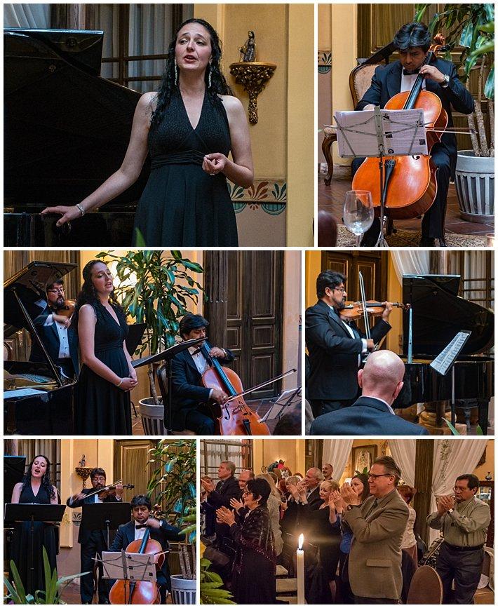 Karen Kennedy in music concert in Cuenca, Ecuador