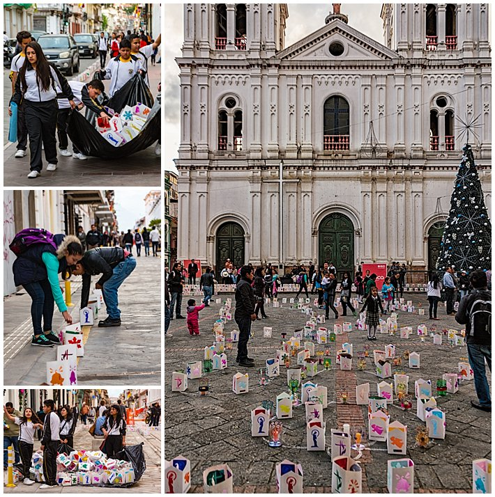 Festival of Lights 2016, Cuenca, Ecuador - candle setup