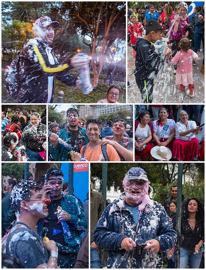 Foam Attack, Godparent's Day 2017 in Cuenca, Ecuador - adults