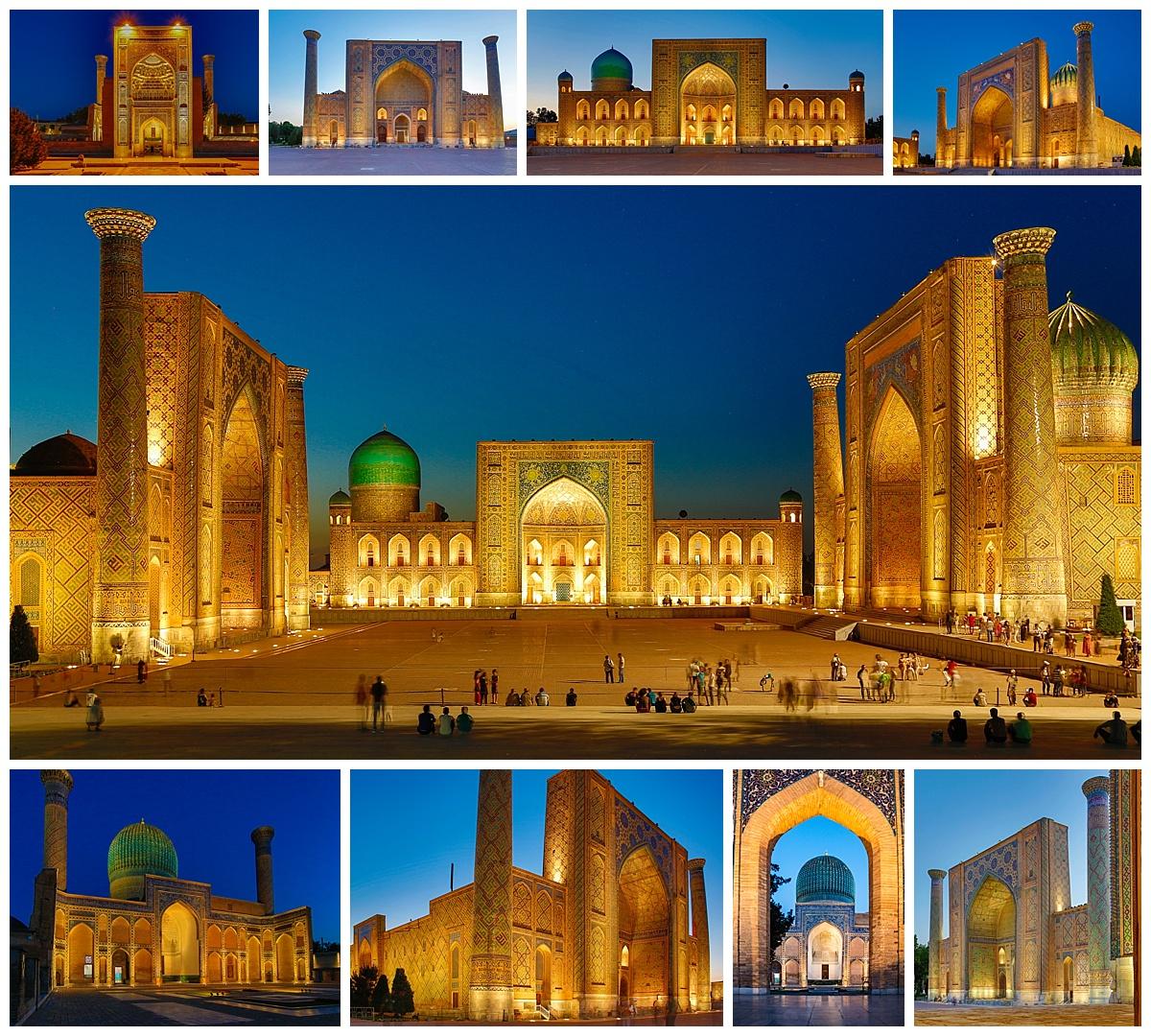 Samarkand, Uzbekistan - lit temples at night