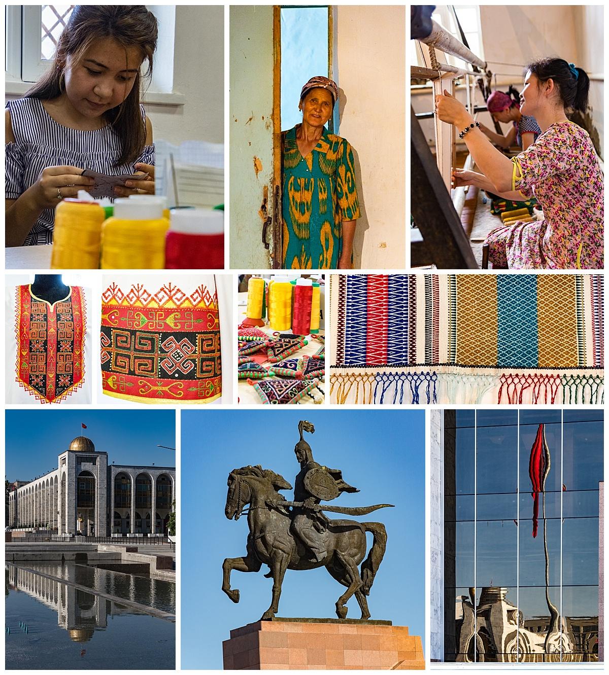 Biskek, Kyrgyzstan - fabric and building