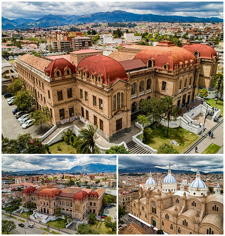 Benigno Malo Collegio (high school) and New Cathedral shown from drone