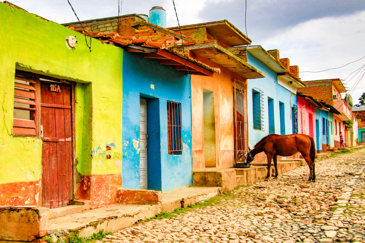 Trinidad, Cuba - Typical street with horse