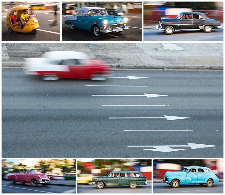 Havana, Cuba - classic cars moving