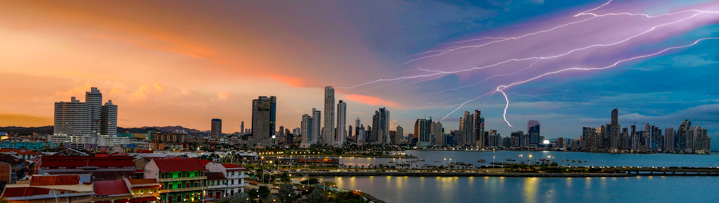 Panama City - Skyline with Lightning