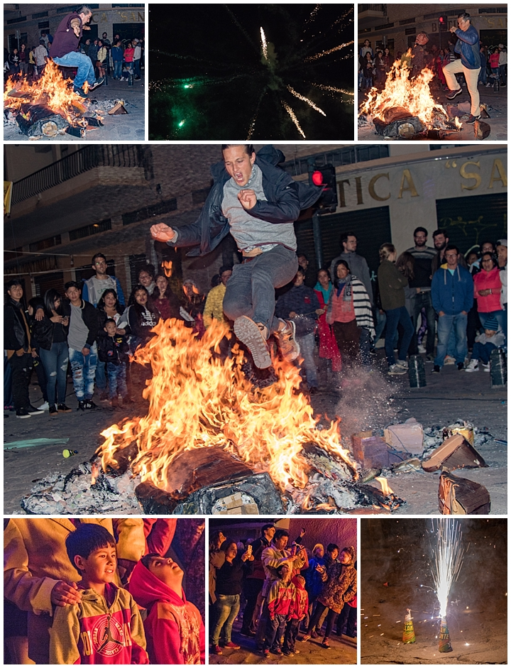New Years Eve 2017 Cuenca, Ecuador - jumping fire