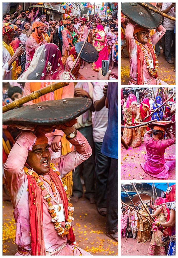 Barsana, India, Holi Festival 2018 -beating men