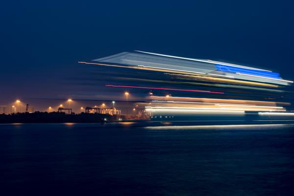 Cochin / Kochi, India - blurred cruise ship