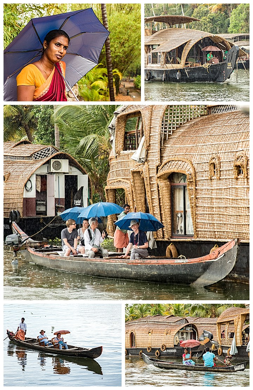 houseboat, India - rain